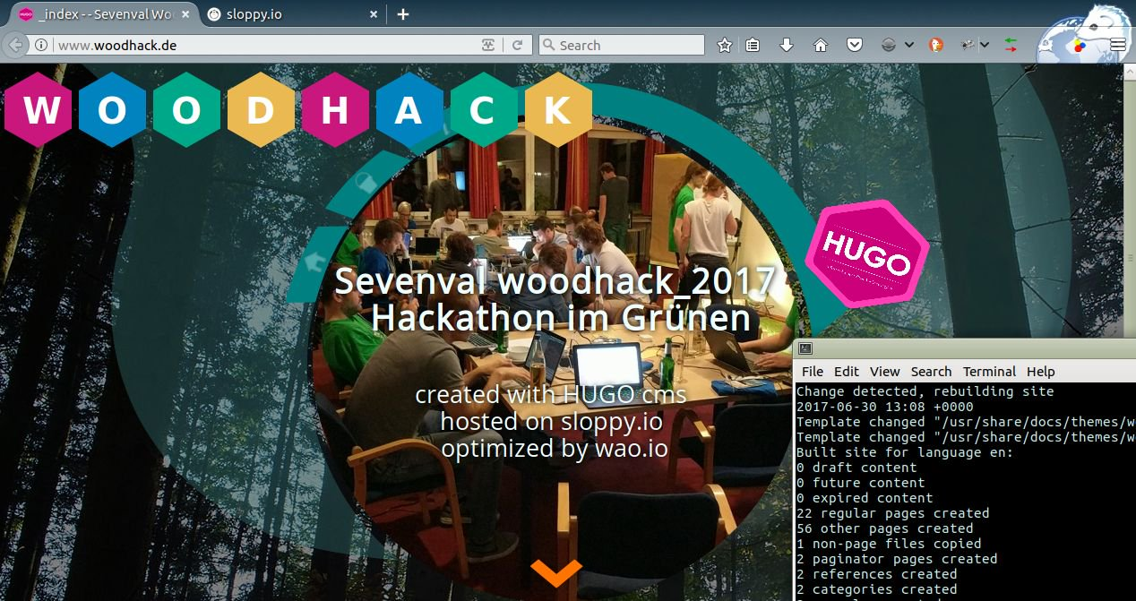Woodhack.de - CMS in a Container